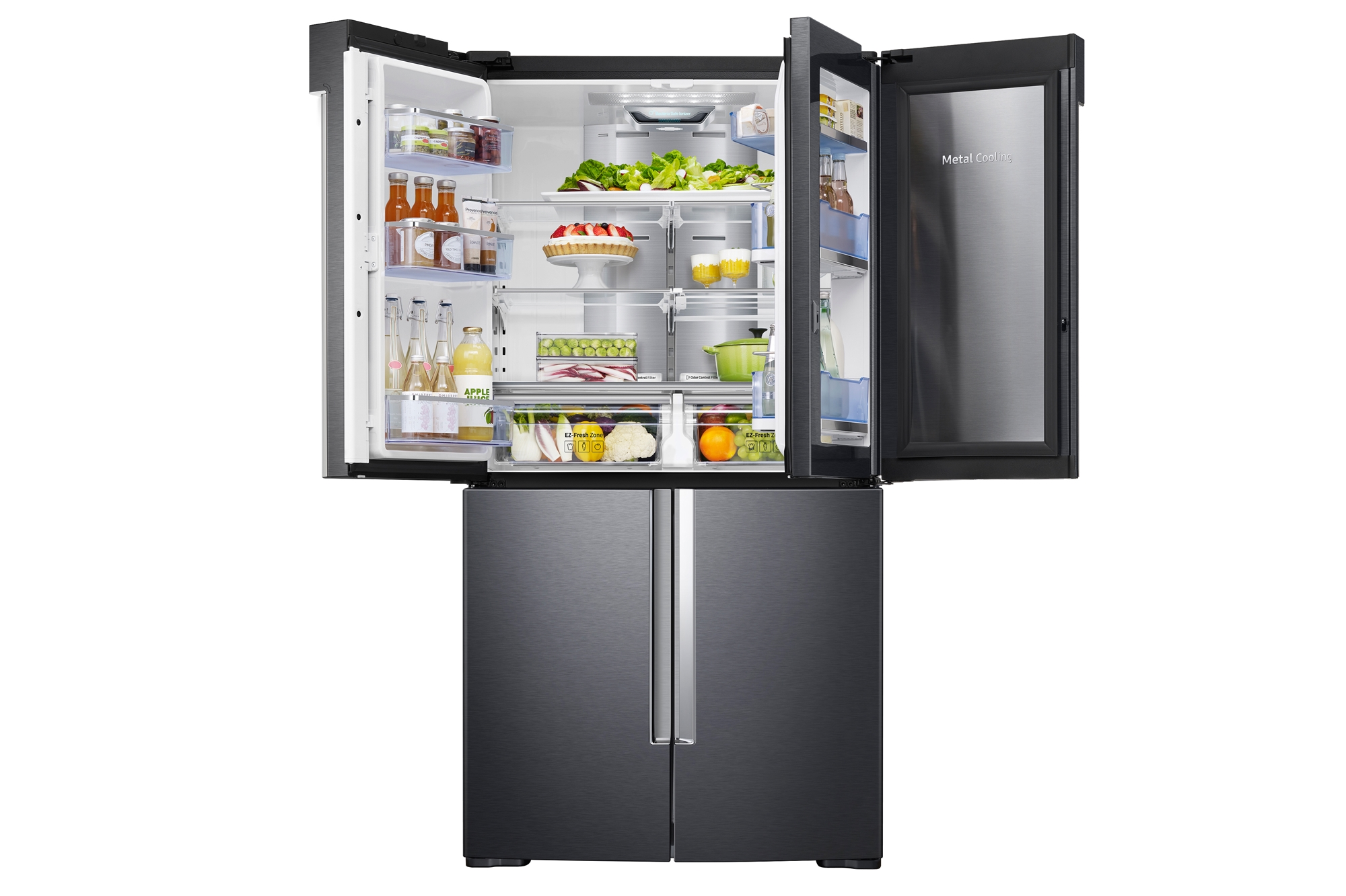 RF65M9371M1-SC_013_Front-Left-Door-Showcase-Incase-Half-Open-With-Food_Honed-Black.jpg